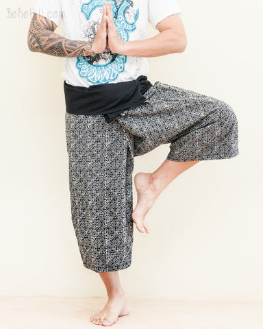 Cropped Thai Fisherman Pants Black Yoga Capris Mountain Diamond Weave wrap around fold over waist ship length relaxed loose fit ethnic trousers namaste