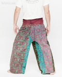 Dark Stonewashed Rustic India Vintage Style Fisherman Pants Yoga Trousers Om Design OMF-13 back