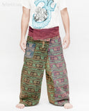Dark Stonewashed Rustic India Vintage Style Fisherman Pants Yoga Trousers Om Design OMF-13 front