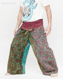 Dark Stonewashed Rustic India Vintage Style Fisherman Pants Yoga Trousers Om Design OMF-13 left