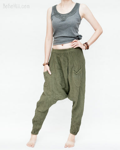 Double Gauze Crinkle Cotton Unisex Harem Pants Casual Dropped Crotch Trousers stretchy pull on elastic waist up to plus size elastic cuff leg soft cozy breathable olive green left