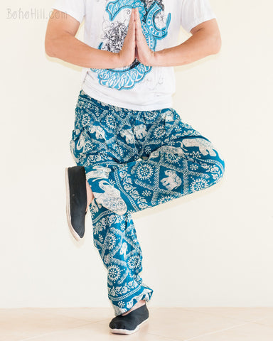 Elephants Hippie Harem Bohemian Yoga Pants Smocked Waist Dark Teal cross