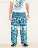 Elephants Hippie Harem Bohemian Yoga Pants Smocked Waist Dark Teal front