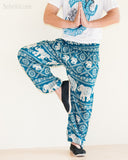 Elephants Hippie Harem Bohemian Yoga Pants Smocked Waist Dark Teal namaste