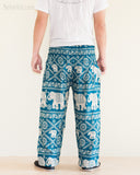 Elephants Hippie Harem Bohemian Yoga Pants Smocked Waist Dark Teal rear