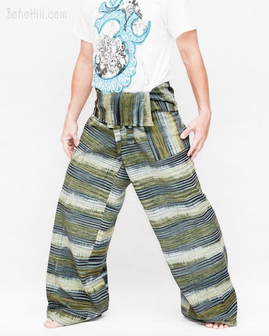 Extra Long Thai Fisherman Pants Handwoven Forest Stripes One of A Kind Top Quality Handmade Wrap Around Patchwork Trousers Plus Size JMX18 left
