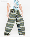 Extra Long Thai Fisherman Pants Handwoven Forest Stripes One of A Kind Top Quality Handmade Wrap Around Patchwork Trousers Plus Size JMX18 right