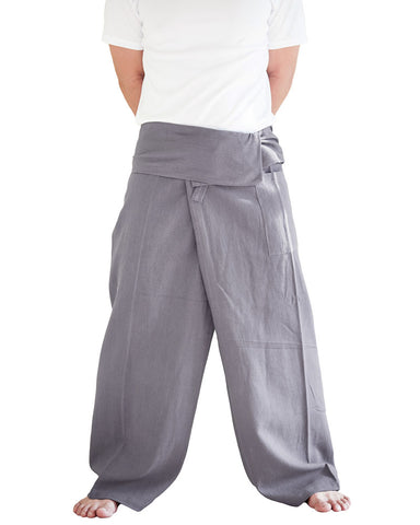 Extra Long Thai Fisherman Pants Plain Color Gray soft Organic Cotton wrap around zen meditation trousers minimalist grey front