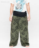 Extra Long Tribal Printed Cotton Thai Fisherman Pants Moon Crescent Spiral Green Handmade Wrap Trousers front