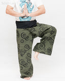 Extra Long Tribal Printed Cotton Thai Fisherman Pants Moon Crescent Spiral Green Handmade Wrap Trousers namaste
