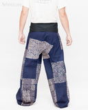 Extra Long Unique Patchwork Thai Fisherman Pants Tribal Design Pajamas PJ Wrap Trousers for Tall People Blue SOX8 back