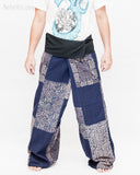 Extra Long Unique Patchwork Thai Fisherman Pants Tribal Design Pajamas PJ Wrap Trousers for Tall People Blue SOX8 front