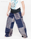 Extra Long Unique Patchwork Thai Fisherman Pants Tribal Design Pajamas PJ Wrap Trousers for Tall People Blue SOX8 left