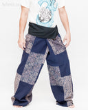 Extra Long Unique Patchwork Thai Fisherman Pants Tribal Design Pajamas PJ Wrap Trousers for Tall People Blue SOX8 right