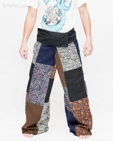 Extra Long Unique Patchwork Thai Fisherman Pants Tribal Design Pajamas PJ Wrap Trousers for Tall People Multicolor SOX8 front