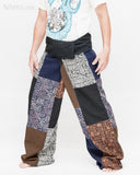 Extra Long Unique Patchwork Thai Fisherman Pants Tribal Design Pajamas PJ Wrap Trousers for Tall People Multicolor SOX8 left