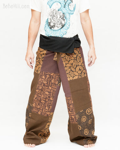 Extra Long Unique Patchwork Thai Fisherman Pants for Tall People Low Crotch Design Casual Wrap Trousers Brown SOX7 front