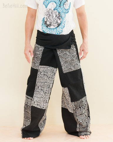 Extra Long Unique Tribal Patchwork Thai Fisherman Pants Handmade Cotton Black SOX8 front