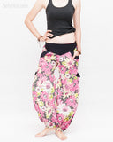 Gypsy Aladdin Genie Bohemian Pants Crinkle Cotton Spring Flora Cargo Bloomers Trousers Pink center