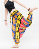 Hawaiian Beach Harem Pants Fun Colorful Low Crotch Baggy Yoga Trousers Ocean Turtle Fishbone Blue dance