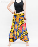 Hawaiian Beach Harem Pants Fun Colorful Low Crotch Baggy Yoga Trousers Ocean Turtle Fishbone Blue front