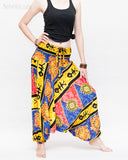 Hawaiian Beach Harem Pants Fun Colorful Low Crotch Baggy Yoga Trousers Ocean Turtle Fishbone Blue right