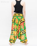 Hawaiian Beach Harem Pants Fun Colorful Low Crotch Baggy Yoga Trousers Ocean Turtle Fishbone Green back