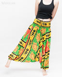 Hawaiian Beach Harem Pants Fun Colorful Low Crotch Baggy Yoga Trousers Ocean Turtle Fishbone Green dance