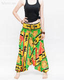 Hawaiian Beach Harem Pants Fun Colorful Low Crotch Baggy Yoga Trousers Ocean Turtle Fishbone Green front
