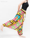 Hawaiian Beach Harem Pants Fun Colorful Low Crotch Baggy Yoga Trousers Ocean Turtle Fishbone Pink dance