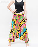 Hawaiian Beach Harem Pants Fun Colorful Low Crotch Baggy Yoga Trousers Ocean Turtle Fishbone Pink front