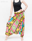 Hawaiian Beach Harem Pants Fun Colorful Low Crotch Baggy Yoga Trousers Ocean Turtle Fishbone Pink side