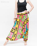 Hawaiian Beach Harem Pants Fun Colorful Low Crotch Baggy Yoga Trousers Ocean Turtle Fishbone Pink wide