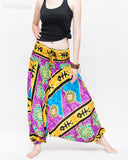 Hawaiian Beach Harem Pants Fun Colorful Low Crotch Baggy Yoga Trousers Ocean Turtle Fishbone Purple wide