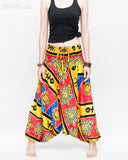 Hawaiian Beach Harem Pants Fun Colorful Low Crotch Baggy Yoga Trousers Ocean Turtle Fishbone Red front