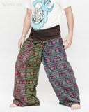 Hindu Om Script Design Yoga Stonewashed Rustic Nepali Cotton Vintage Fisherman Pants OMF-7 left