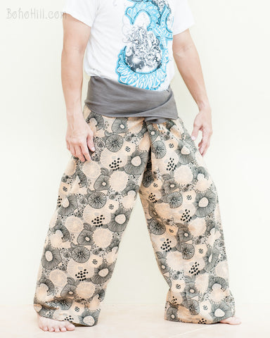Hippie Printed Cotton Thai Fisherman Pants Gray Fold Over Wrap Around Waist Yoga Trousers Lotus Psychedelic Mushroom Spore Design right
