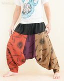 Hobo Hippie Hindu Om Baggy Harem Pants Unisex Patchwork Low Crotch Trousers (HO-OM20) side