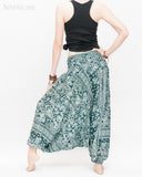 Indian Flora Flower Paisley Harem Pants Unisex Genie Baggy Low Crotch Yoga Trousers Soft Light Rayon Green Teal back