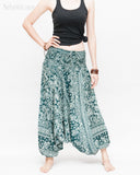 Indian Flora Flower Paisley Harem Pants Unisex Genie Baggy Low Crotch Yoga Trousers Soft Light Rayon Green Teal front