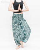 Indian Flora Flower Paisley Harem Pants Unisex Genie Baggy Low Crotch Yoga Trousers Soft Light Rayon Green Teal namaste