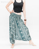 Indian Flora Flower Paisley Harem Pants Unisex Genie Baggy Low Crotch Yoga Trousers Soft Light Rayon Green Teal side