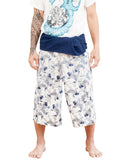 Japanese Koi fish pattern thai fisherman shorts cropped length wrap around fold over waist relaxed loose fit unisex yoga capri pants porcelain blue white front