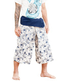 Japanese Koi fish pattern thai fisherman shorts cropped length wrap around fold over waist relaxed loose fit unisex yoga capri pants porcelain blue white side