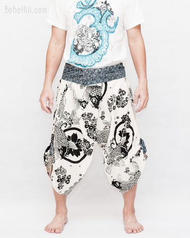 Japanese samurai trousers cropped length sakura koi fish off white active ninja warrior pants aizome indigo tribal sayagata fold over waist front