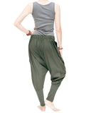 Knickerbocker baggy low crotch tapered leg harem pants urban casual hipster streetwear soft stretch jersey cotton pull on elastic waist military olive green back
