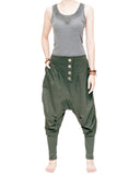 Knickerbocker baggy low crotch tapered leg harem pants urban casual hipster streetwear soft stretch jersey cotton pull on elastic waist military olive green front