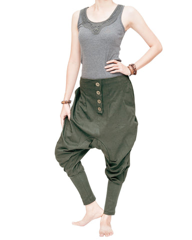 Knickerbocker baggy low crotch tapered leg harem pants urban casual hipster streetwear soft stretch jersey cotton pull on elastic waist military olive green relax