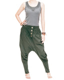 Knickerbocker baggy low crotch tapered leg harem pants urban casual hipster streetwear soft stretch jersey cotton pull on elastic waist military olive green side