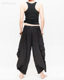 Loose Fit Capri Cropped Harem Pants Large Oversize Side Pockets Drape Winglets Airy Comfy Smart Casual Trousers Black back